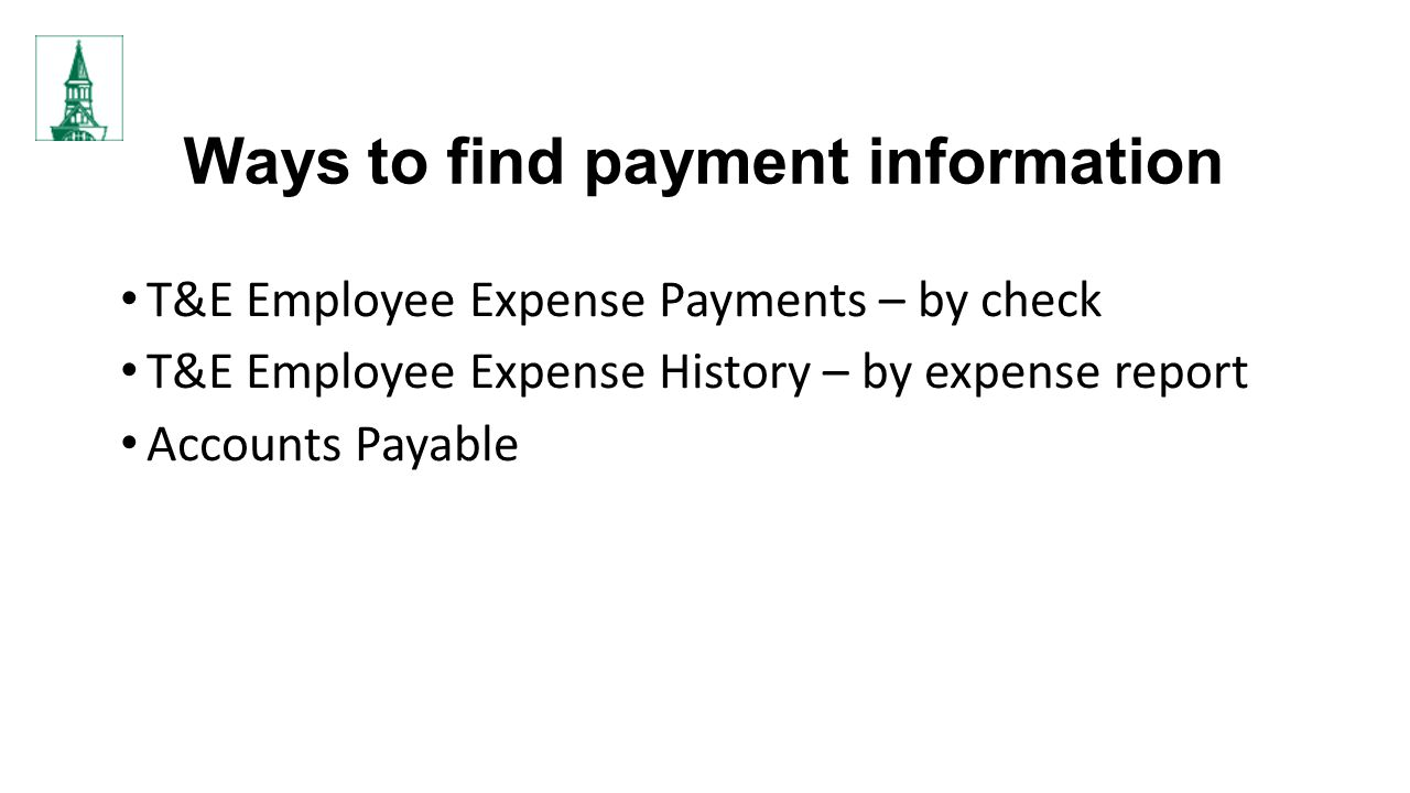 Ways to find payment information