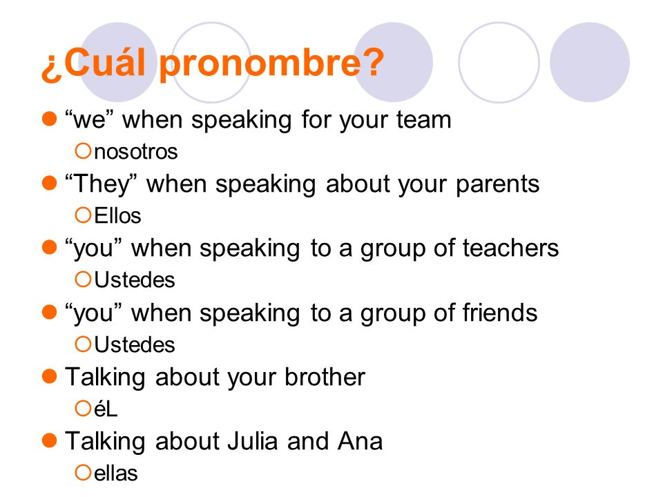 ¿Cuál pronombre we when speaking for your team