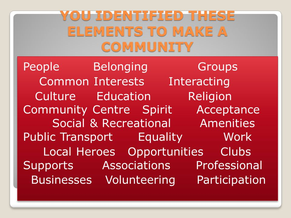 YOU IDENTIFIED THESE ELEMENTS TO MAKE A COMMUNITY