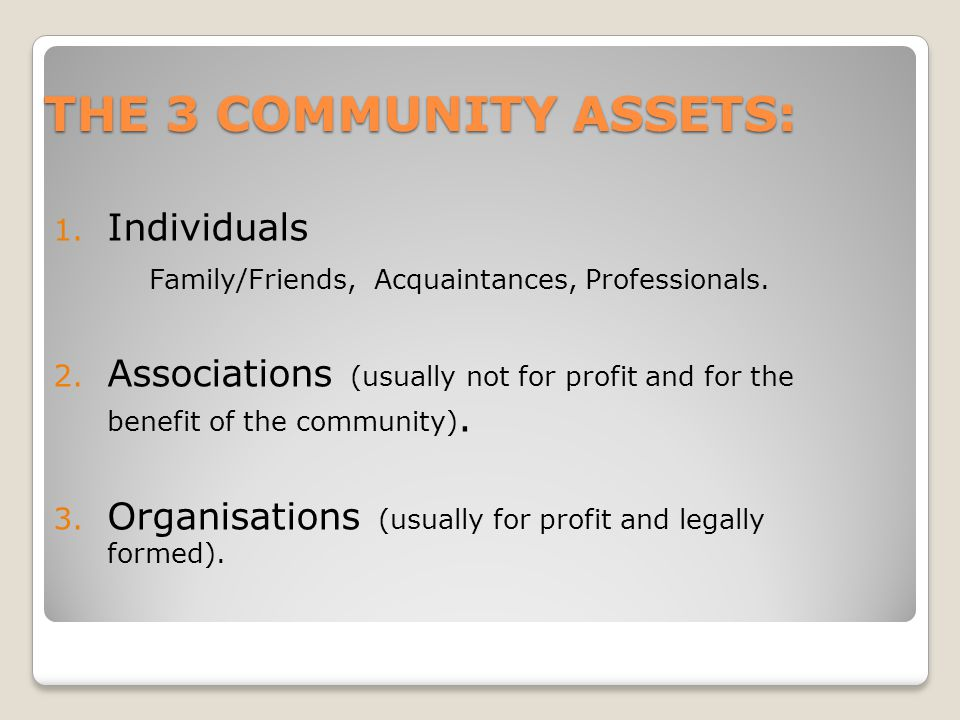 THE 3 COMMUNITY ASSETS: Individuals