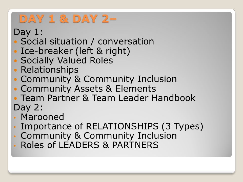 DAY 1 & DAY 2– Day 1: Social situation / conversation