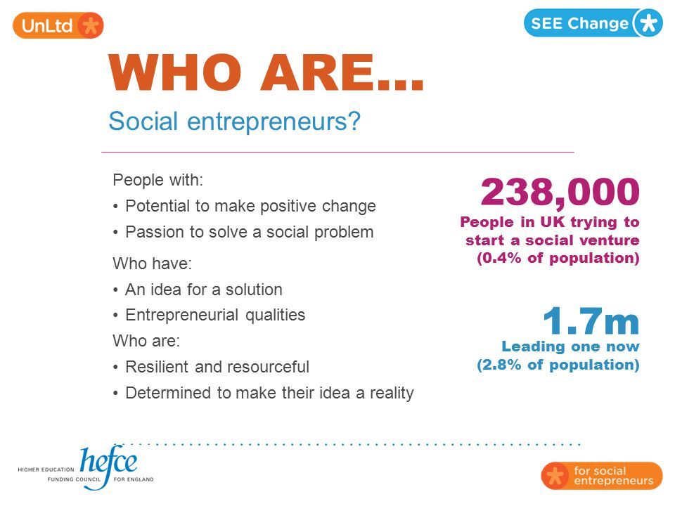 WHO ARE... 238,000 1.7m Social entrepreneurs People with: