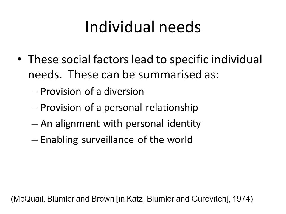 Individual needs These social factors lead to specific individual needs. These can be summarised as: