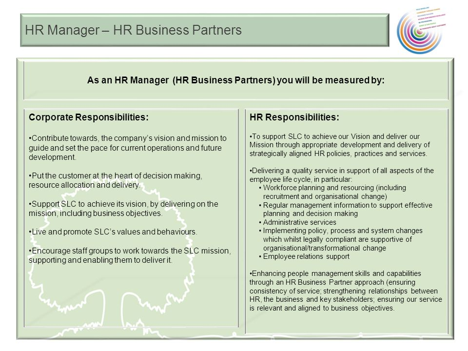 HR Manager – HR Business Partners