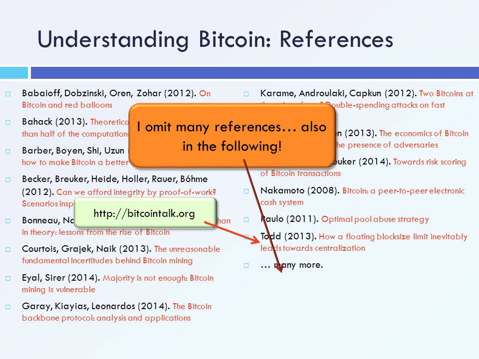 Understanding Bitcoin: References