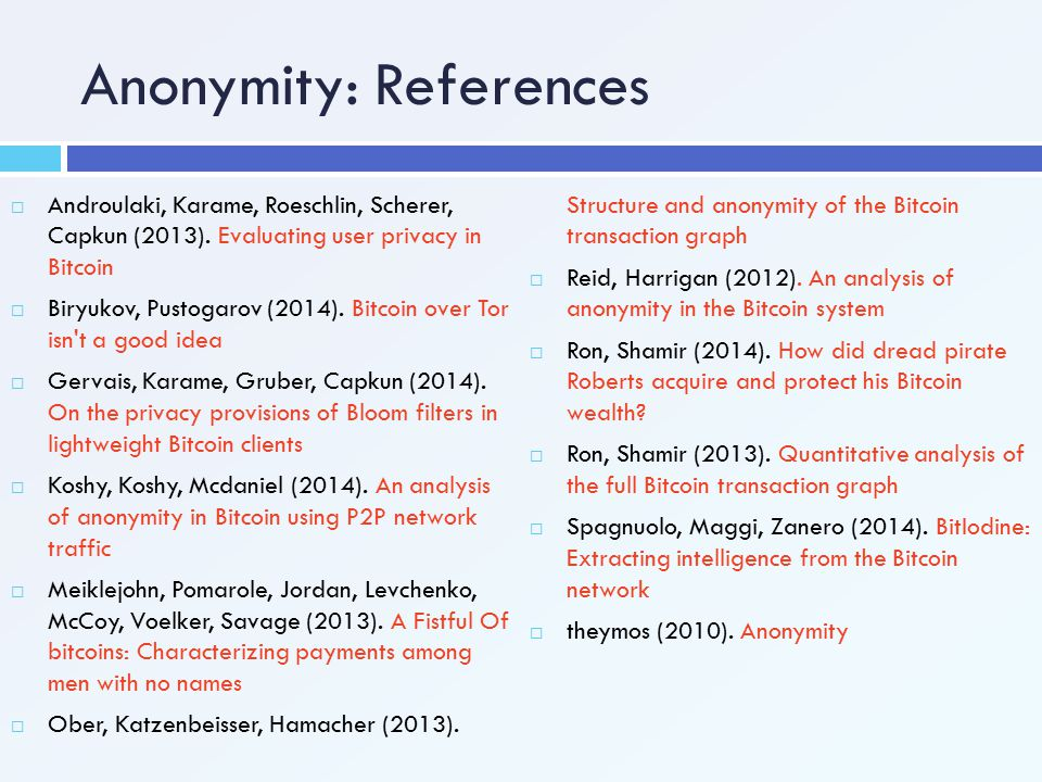 Anonymity: References