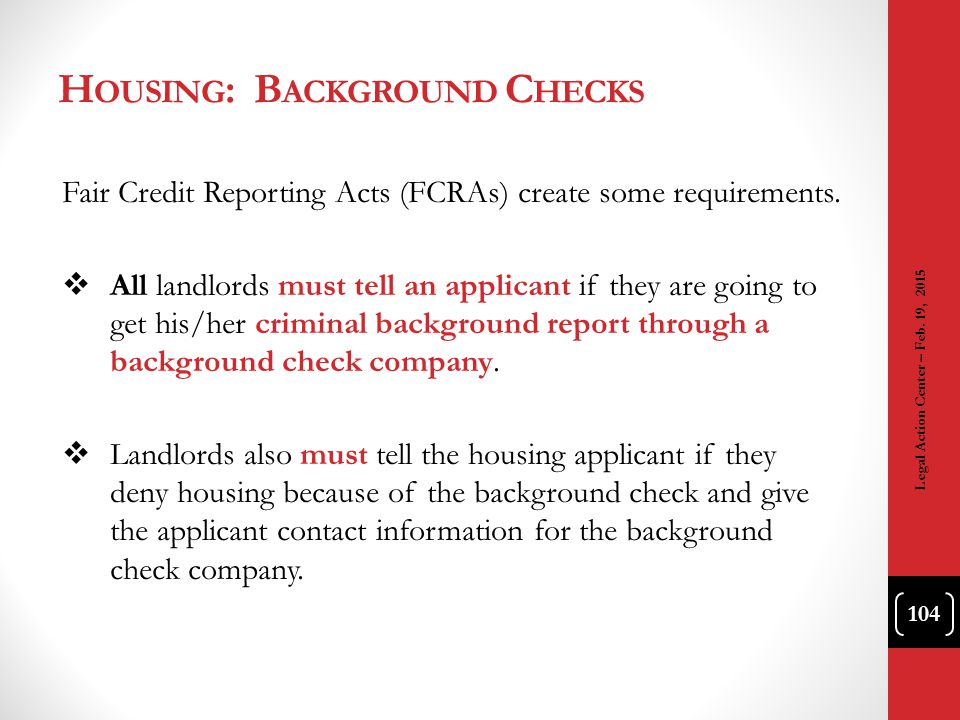 Housing: Background Checks