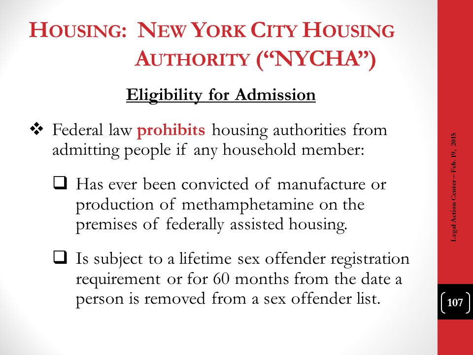Housing: New York City Housing Authority ( NYCHA )