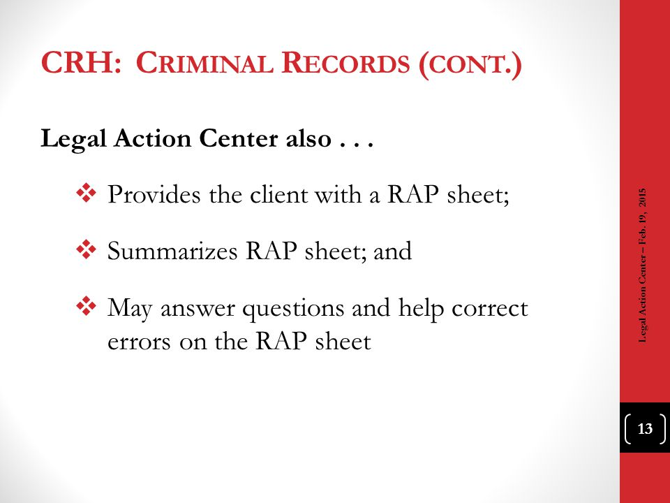 CRH: Criminal Records (cont.)