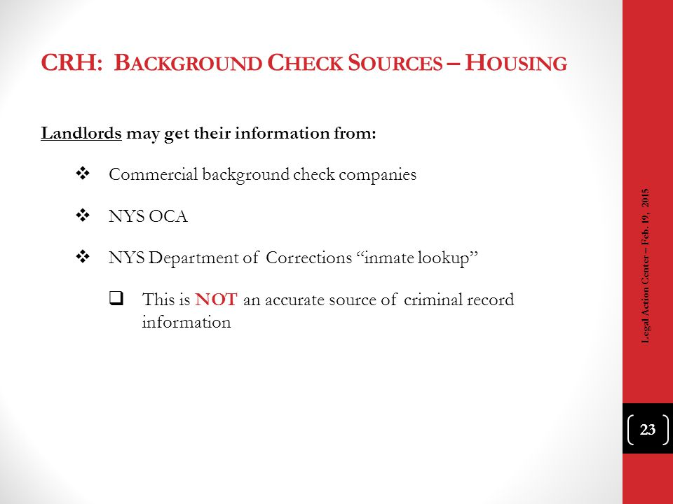 CRH: Background Check Sources – Housing