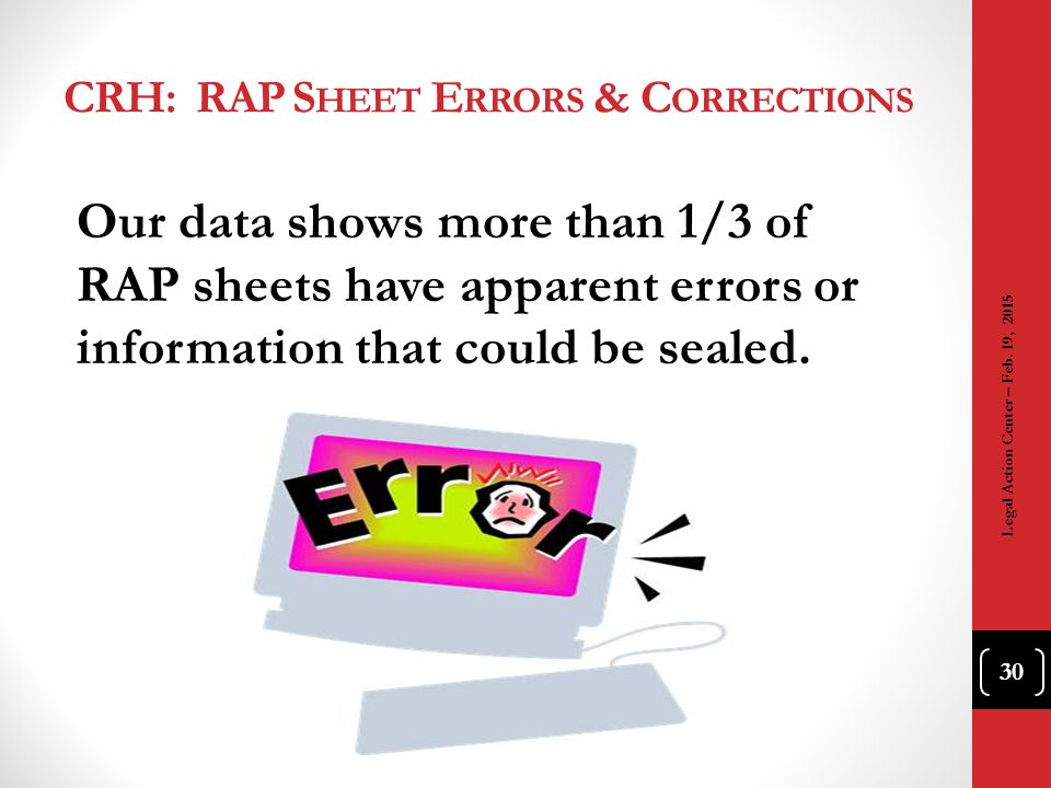 CRH: RAP Sheet Errors & Corrections