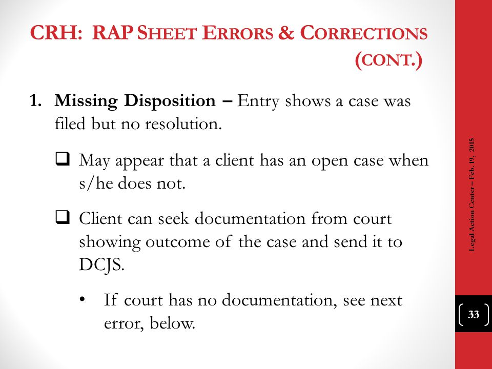 CRH: RAP Sheet Errors & Corrections (cont.)