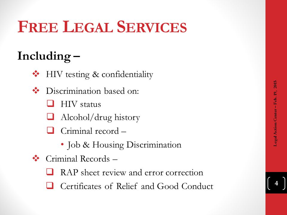 Free Legal Services Including – HIV testing & confidentiality