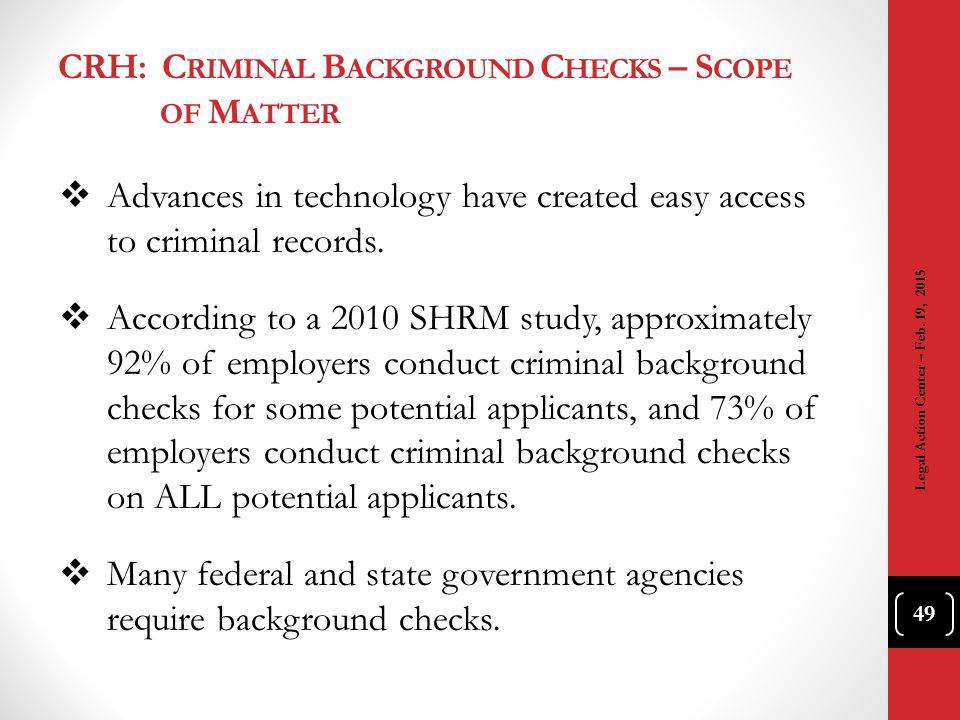 CRH: Criminal Background Checks – Scope of Matter