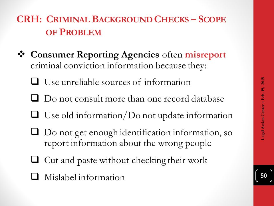 CRH: Criminal Background Checks – Scope of Problem