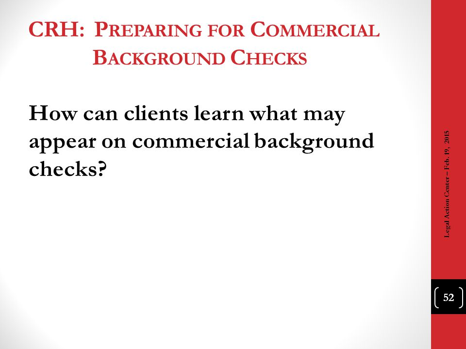 CRH: Preparing for Commercial Background Checks