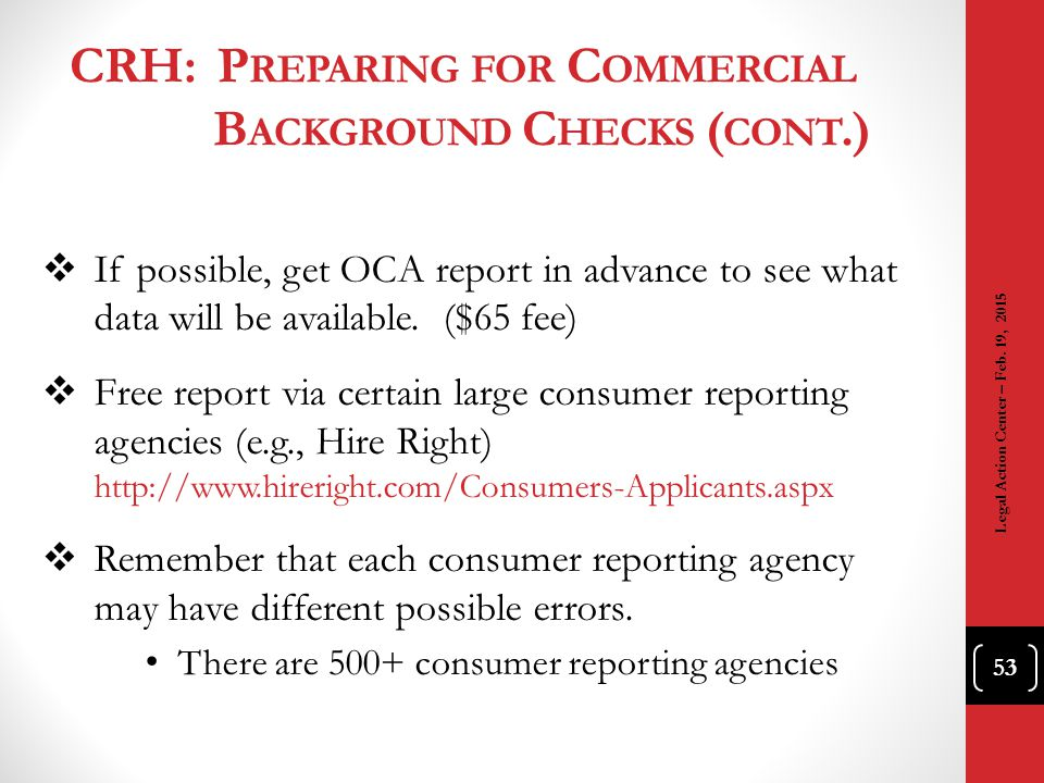 CRH: Preparing for Commercial Background Checks (cont.)