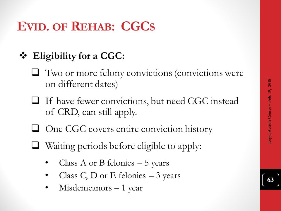 Evid. of Rehab: CGCs Eligibility for a CGC: