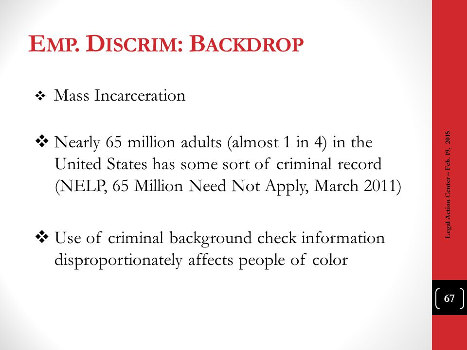 Emp. Discrim: Backdrop Mass Incarceration.