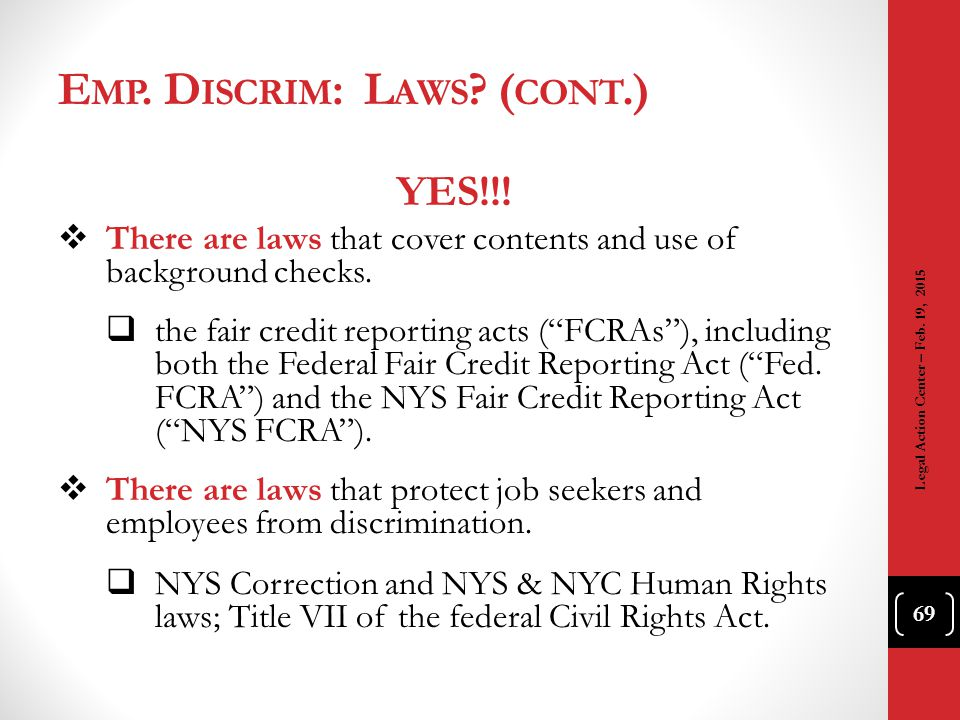 Emp. Discrim: Laws (cont.)
