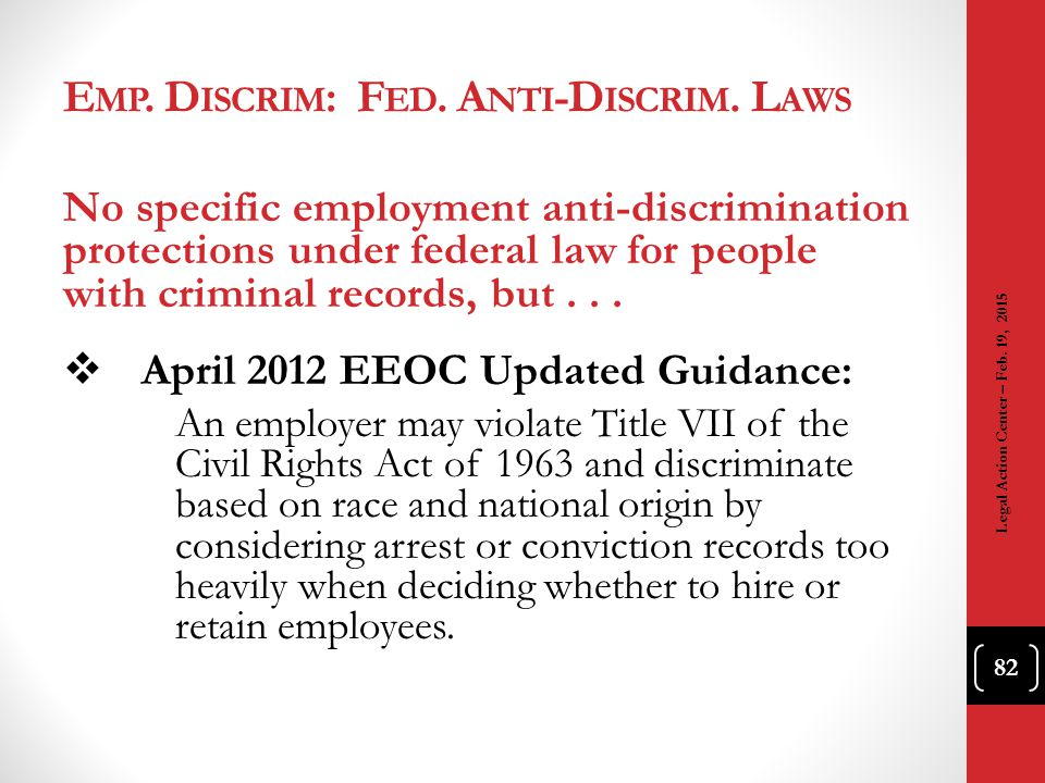 Emp. Discrim: Fed. Anti-Discrim. Laws