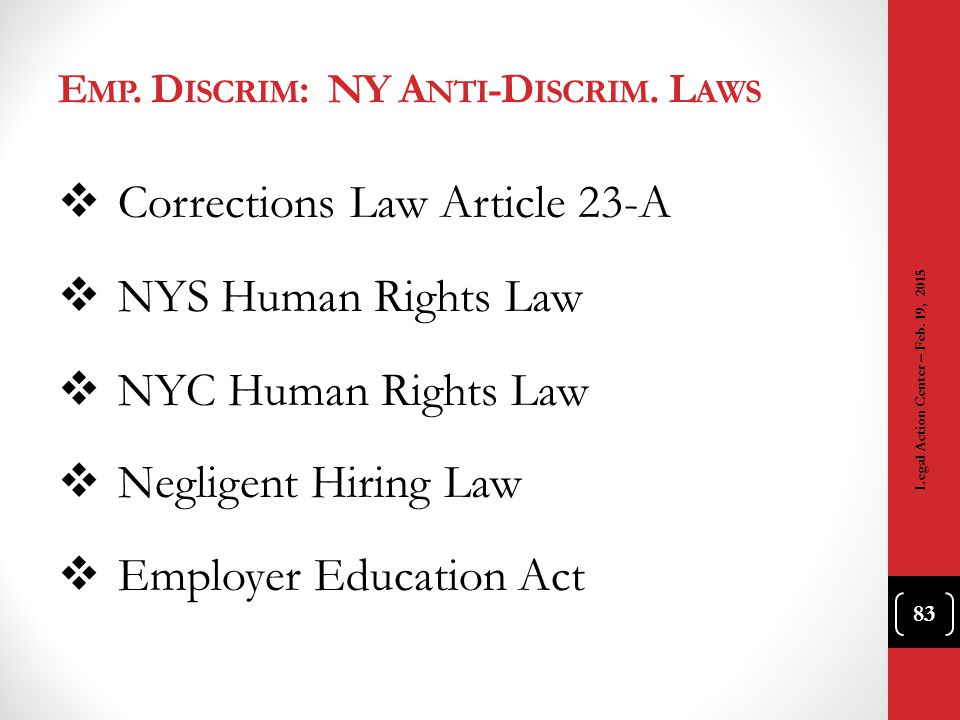 Emp. Discrim: NY Anti-Discrim. Laws