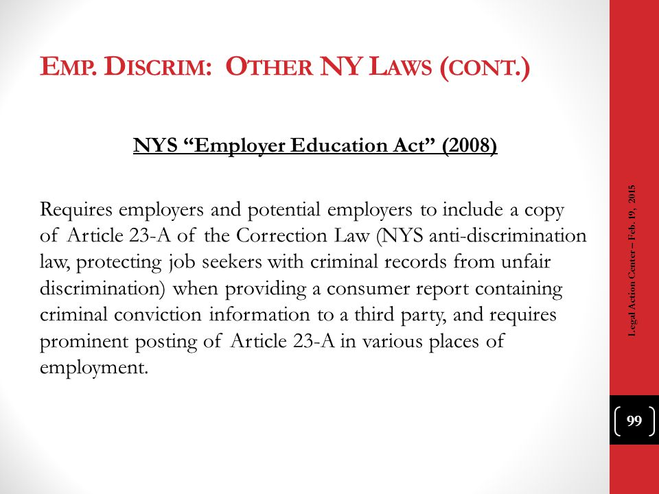 Emp. Discrim: Other NY Laws (cont.)