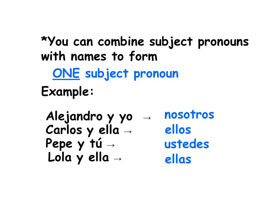 *You can combine subject pronouns