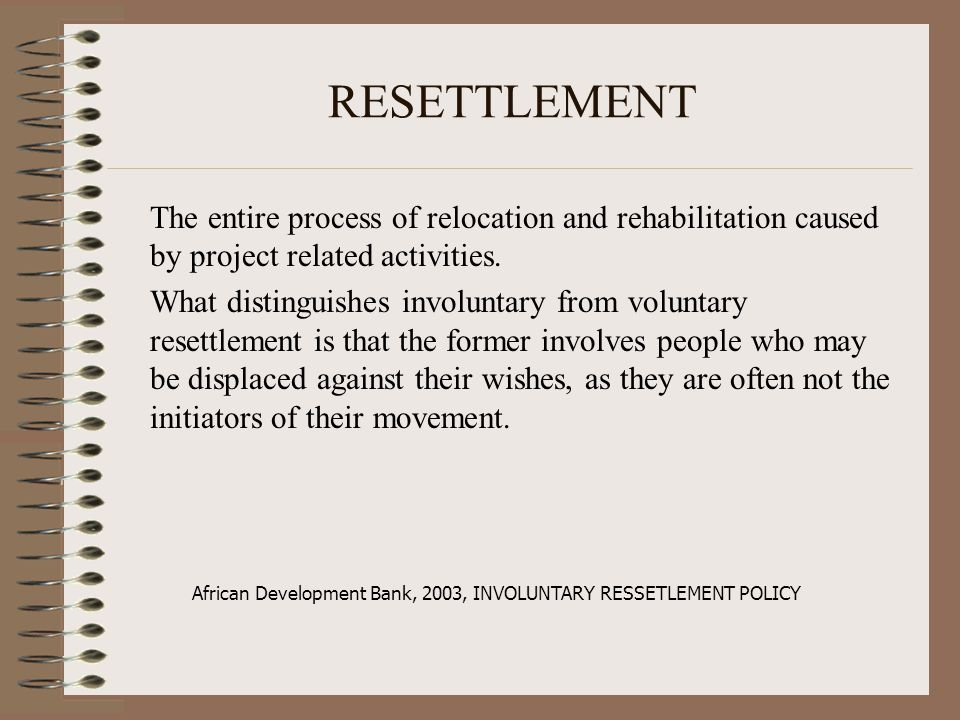 African Development Bank, 2003, INVOLUNTARY RESSETLEMENT POLICY