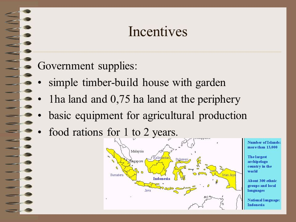 Incentives Government supplies: simple timber-build house with garden