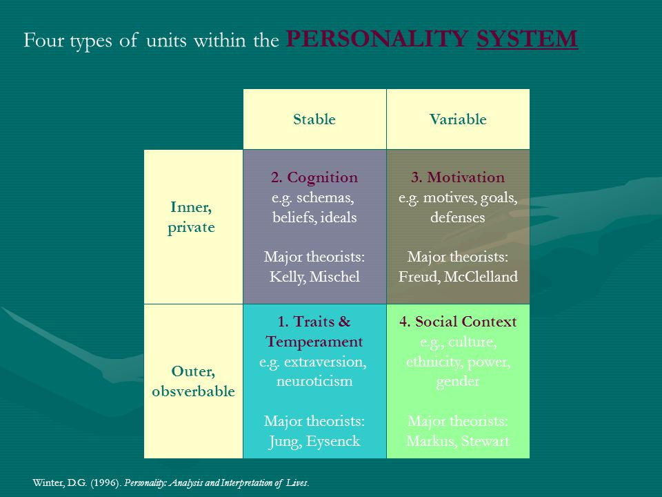 Four types of units within the PERSONALITY SYSTEM