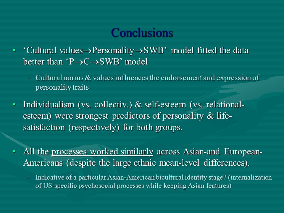 Conclusions 'Cultural valuesPersonalitySWB' model fitted the data better than 'PCSWB' model.