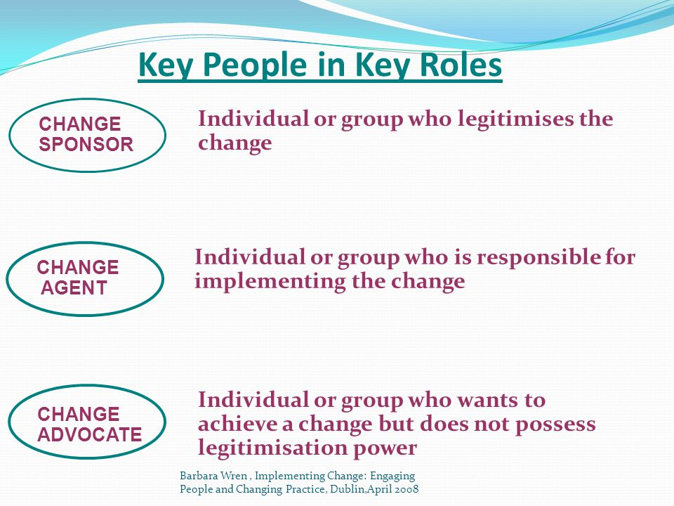 Key People in Key Roles Individual or group who legitimises the change