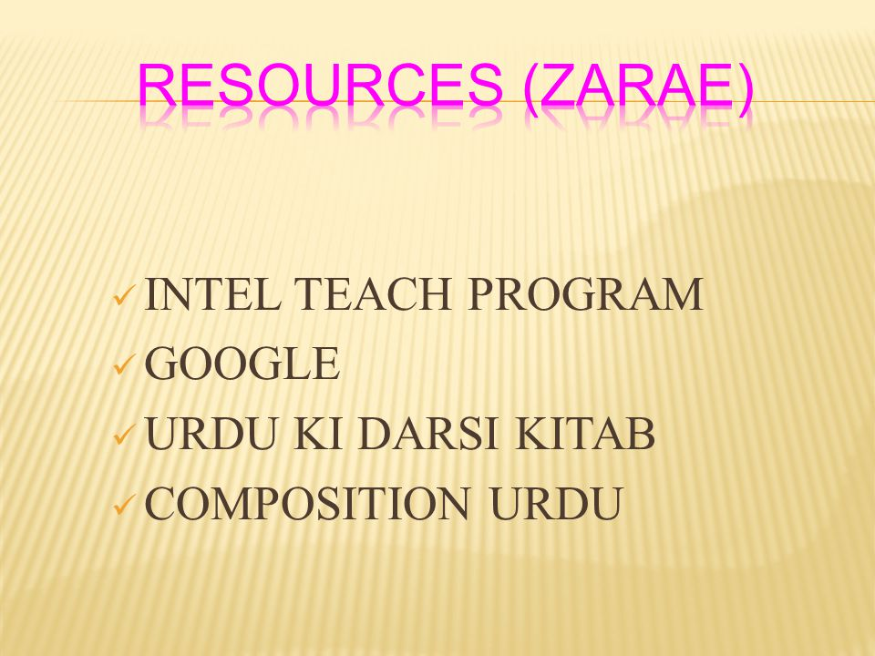 RESOURCES (ZARAE) INTEL TEACH PROGRAM GOOGLE URDU KI DARSI KITAB