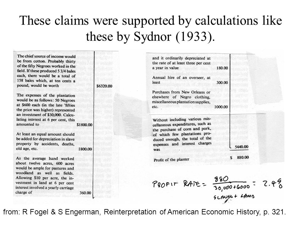 These claims were supported by calculations like these by Sydnor (1933).