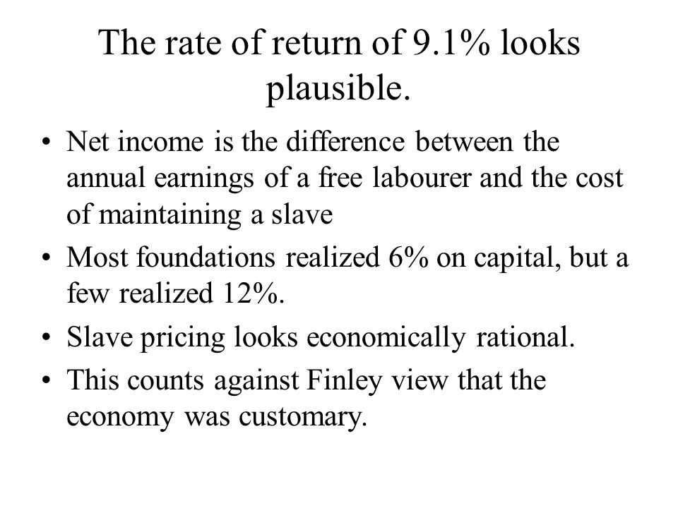 The rate of return of 9.1% looks plausible.
