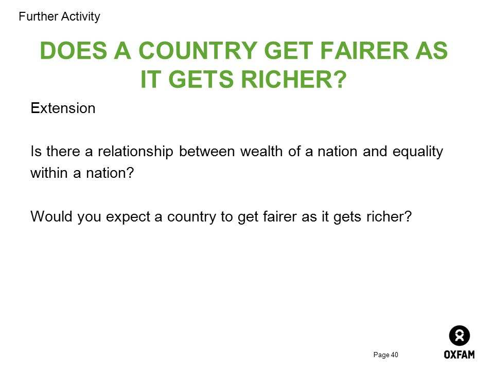 DOES A COUNTRY GET FAIRER AS IT GETS RICHER
