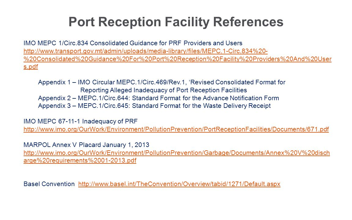 Port Reception Facility References