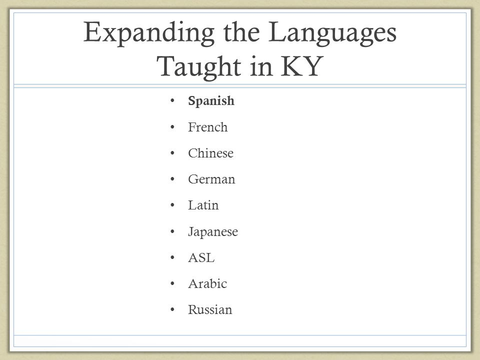 Expanding the Languages Taught in KY