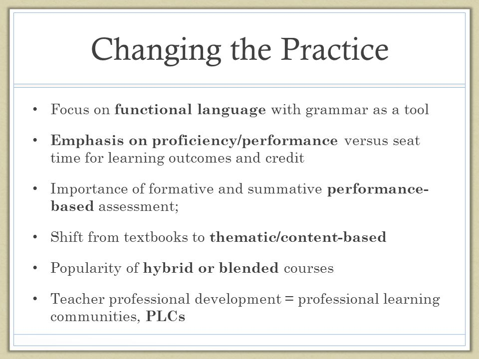 Changing the Practice Focus on functional language with grammar as a tool.