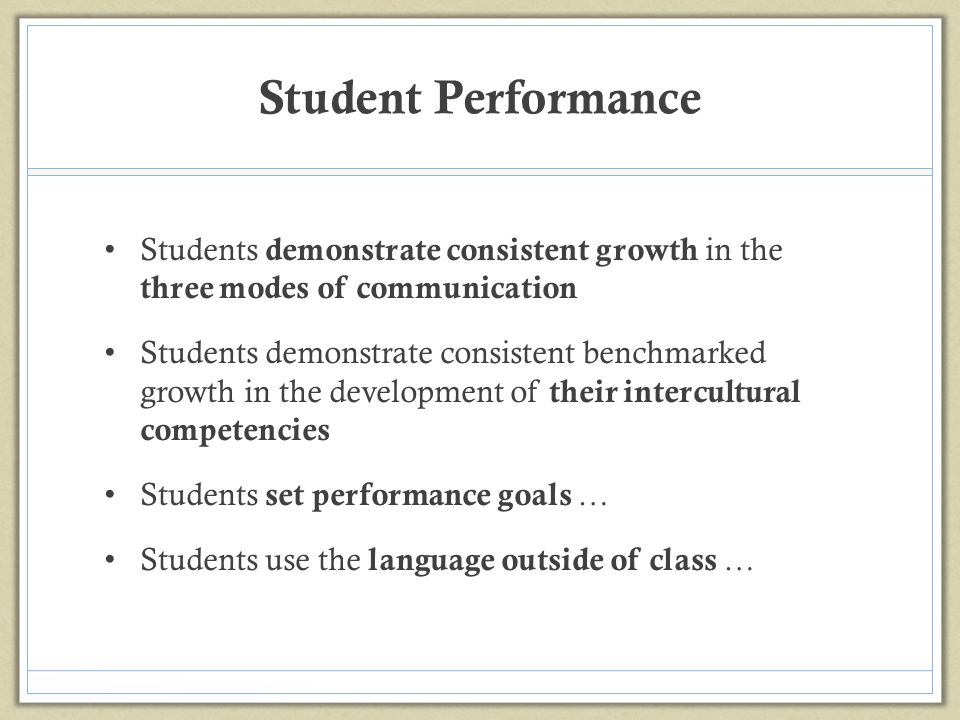Student Performance Students demonstrate consistent growth in the three modes of communication.