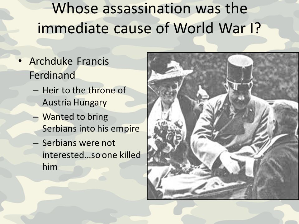 Whose assassination was the immediate cause of World War I