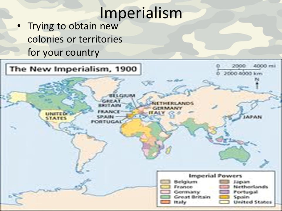 Imperialism Trying to obtain new colonies or territories for your country