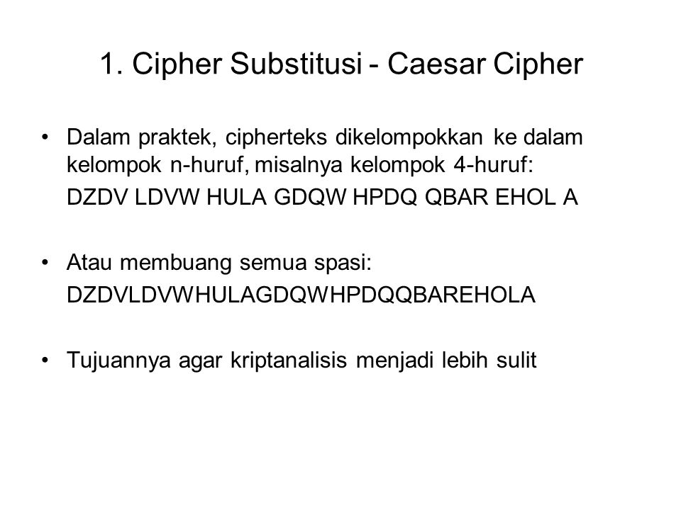 1. Cipher Substitusi - Caesar Cipher