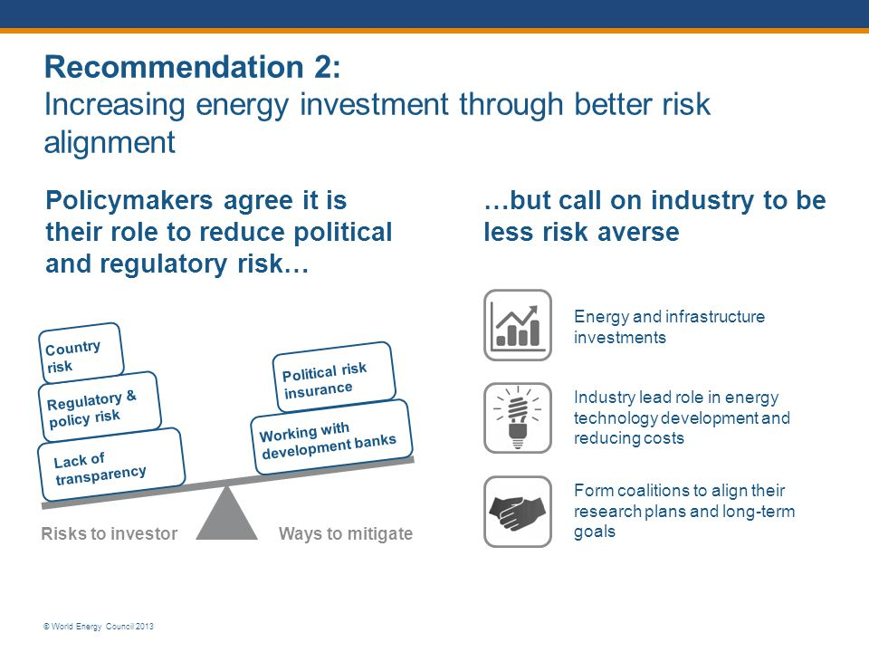 Recommendation 2: Increasing energy investment through better risk alignment