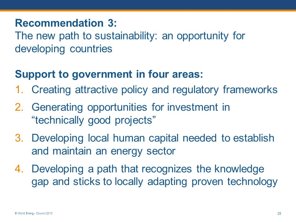 Recommendation 3: The new path to sustainability: an opportunity for developing countries