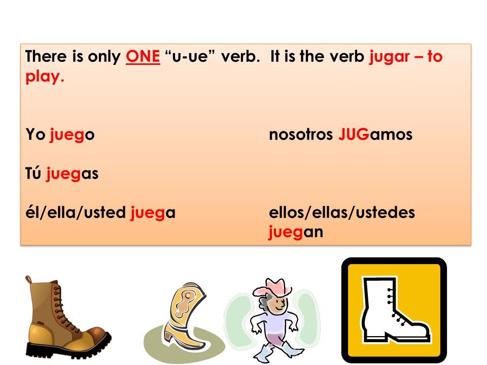 There is only ONE u-ue verb. It is the verb jugar – to play.