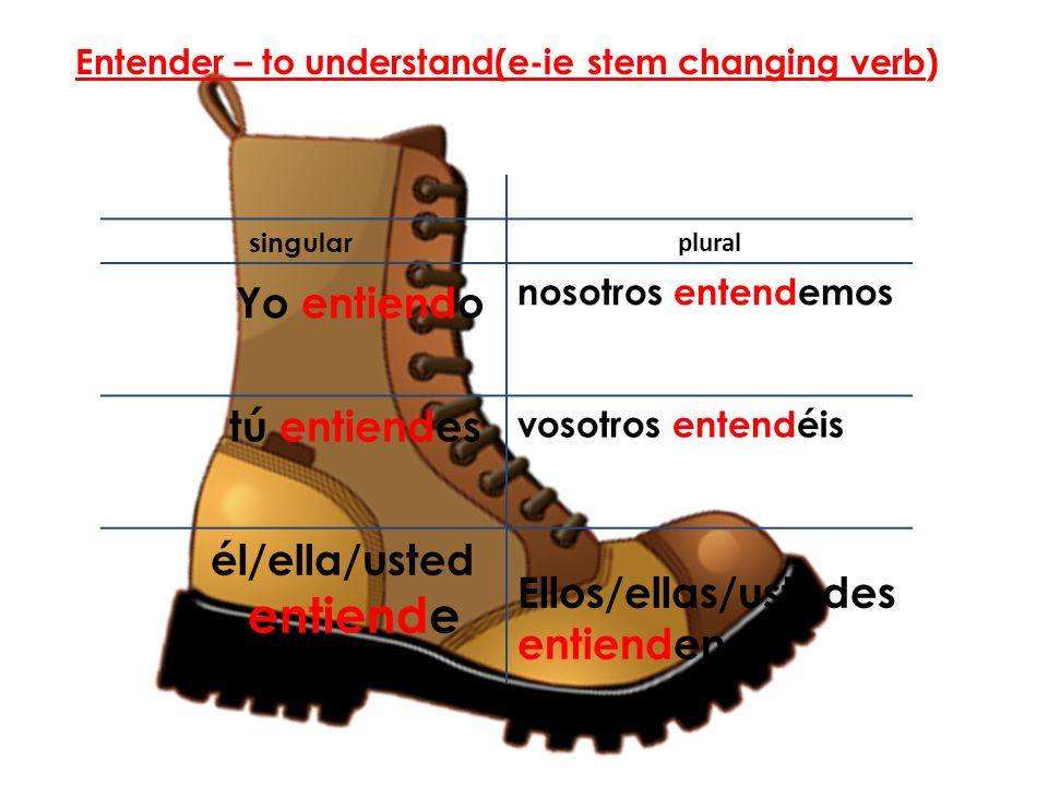 Entender – to understand(e-ie stem changing verb)