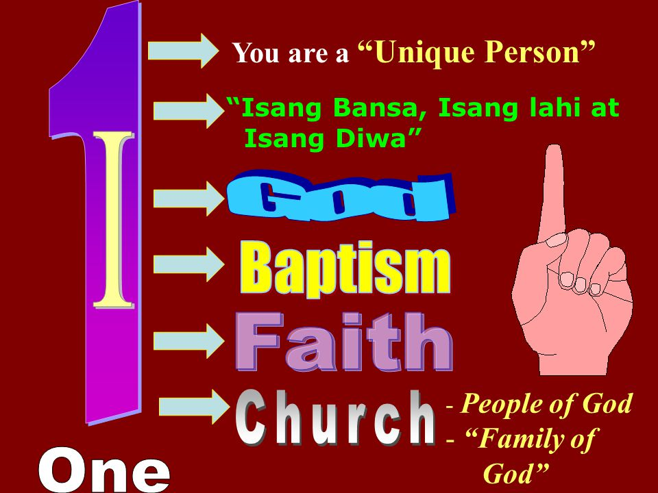 1 I God Baptism Faith One You are a Unique Person Family of God