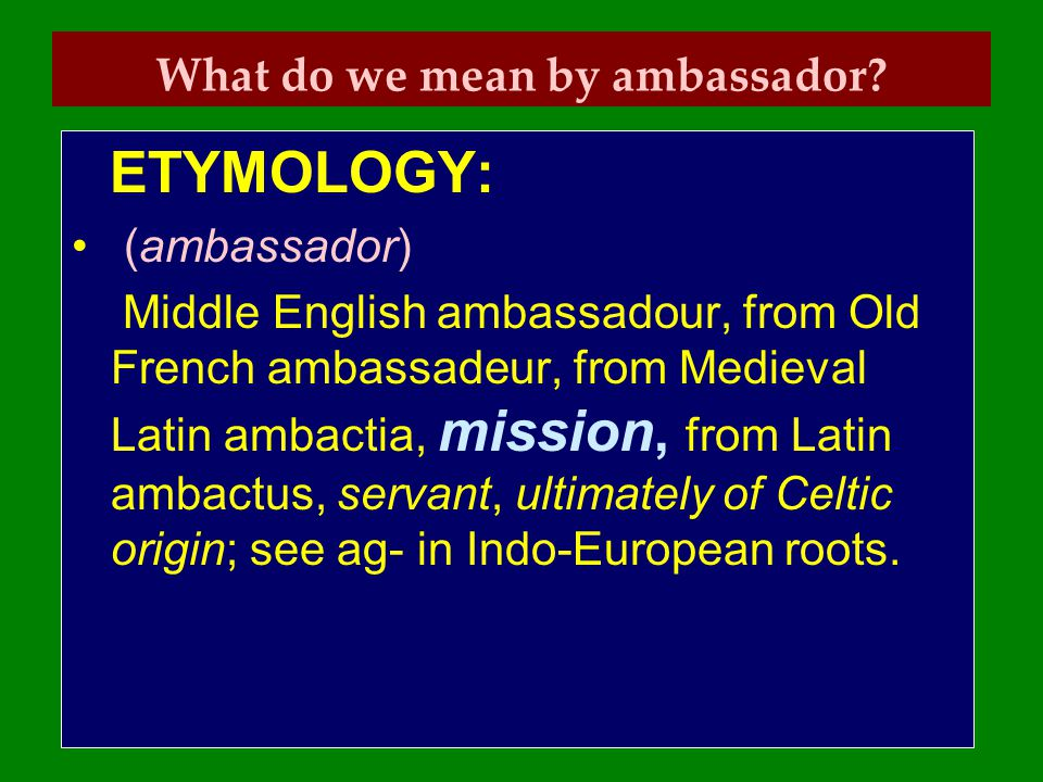 What do we mean by ambassador